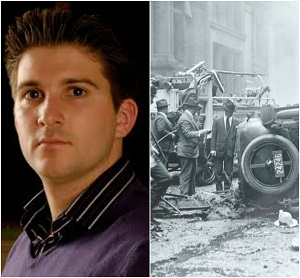 "Barnaby Smith; Artistic Director (Left); Photo of ""A Bombing on Wall Street"" a PBS American Expeirence feature (Right)"
