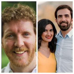L to R: Brendan Kiely, author;  Sheila Modir and Jeff Kashou, authors