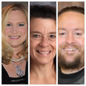 L to R: Elizabeth Steege (Case H.S. in Racine), Polly Amborn (Tremper H.S. in Kenosha) and Derek Machan (Waterford H.S.)