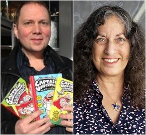 Author Dave Pilkey (Left); Author Margarita Engle (Right)