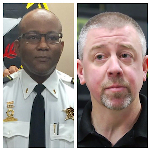 Horace Staples, Lieutenant - Director of Emergency Management (Left)  and Jeff Bliss, Team Leader of the Tactical Response Team  (Right)