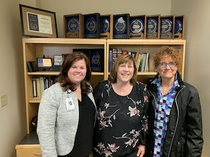 Left to right:  Kristin McMannon, President at Ascension All Saints; Laura Sumner -Coon, Host of Community Matters,  Dottie -Kay Bowersox, Public Health Administrator for the City of Racine.