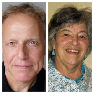 """L to R: James Shapiro, author of """"1599: A Year in the Life of William Shakespeare;"""" Joyce Gregg from AAUW's"""