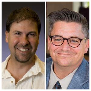 L to R: Jeffrey Roberg, Professor of Political Scienceand Jon Bruning, Associate Professor of Communications and Digital Media