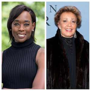 L to R: Margot Lee Shetterly, author;  Joylette Hylick, daughter of Katherine Johnson (one of the women featured in Hidden Figures.)