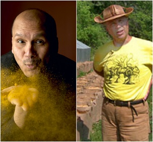Author Raghavan Iyer (left), Potato grower Curzio Caravati (right).