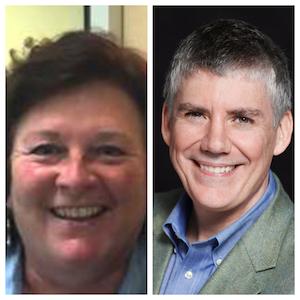 L to R: Nan Calvert, Environmentalist;  Rick Riordan, Author
