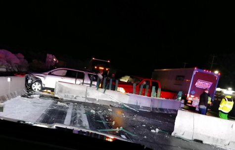 Out-of-Control Semi Pushes Barricades Into Oncoming Traffic