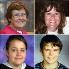 Clockwise from upper left: Colleen Deininger, Melissa Deininger-Dickman, Emmarose Dickman and Alex Dickman. Credit: Proko Funeral Home.